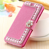 KISSCASE Pink Luxury Pearl Diamond iPhone Wallet Cover
